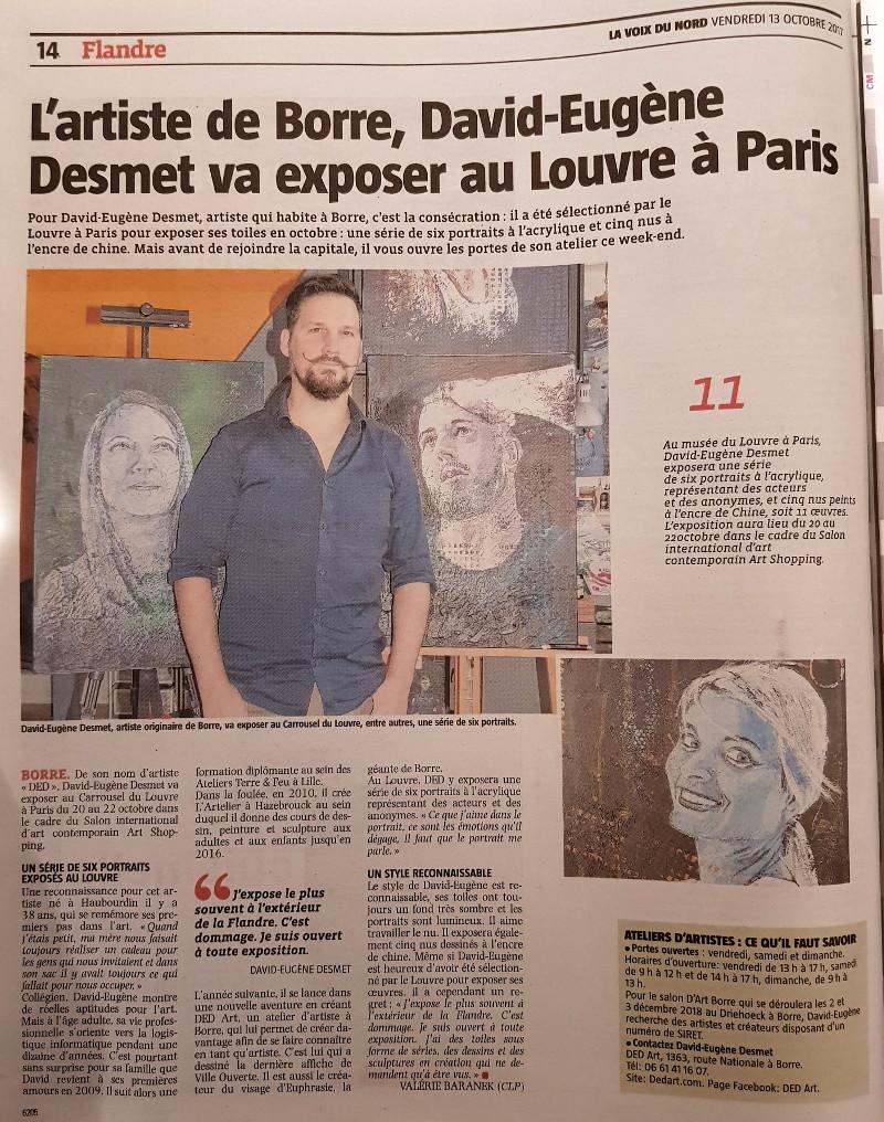 [13-10-2017] David-Eugène Desmet va exposer au Louvre à Paris (Valérie Baranek (CLP) - La Voix Du Nord)